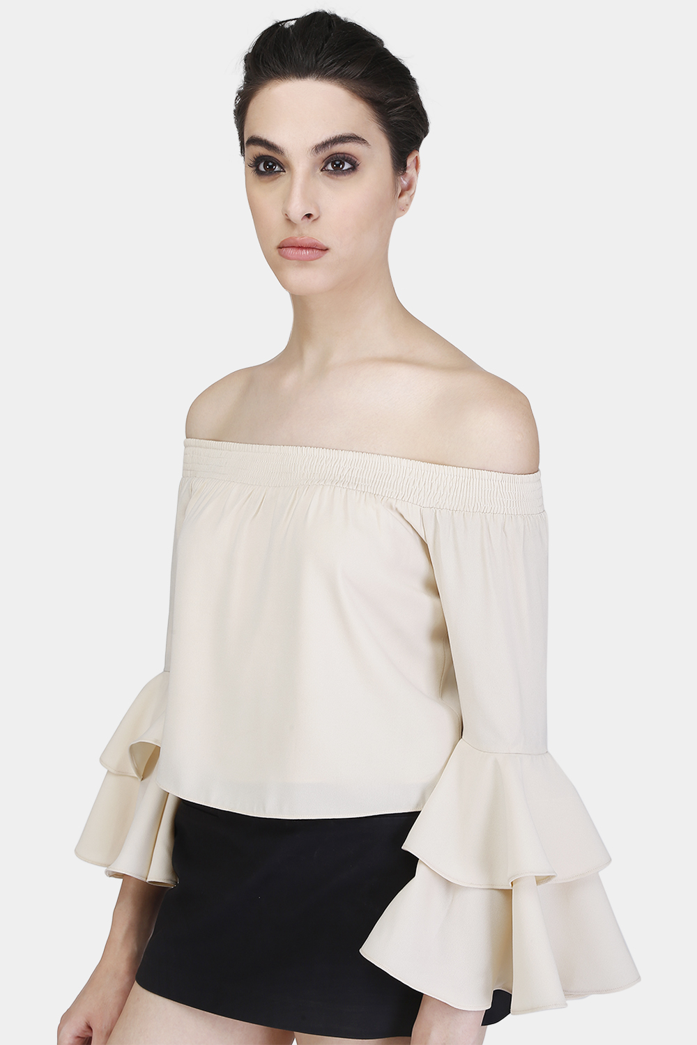 Off-Shoulder Ruffle Sleeves Top -2