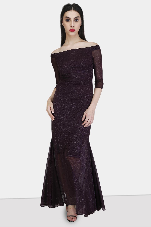 Off-Shoulder Godet Dress -2