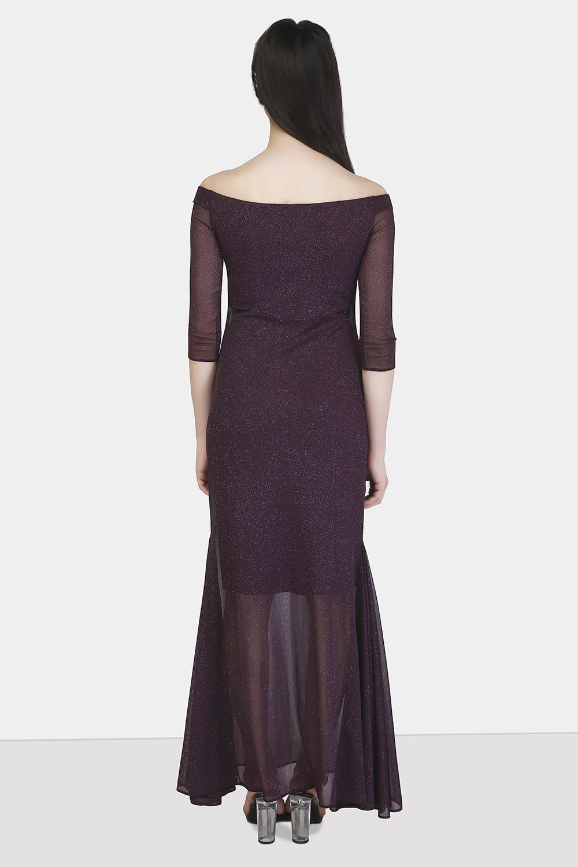 Off-Shoulder Godet Dress -1