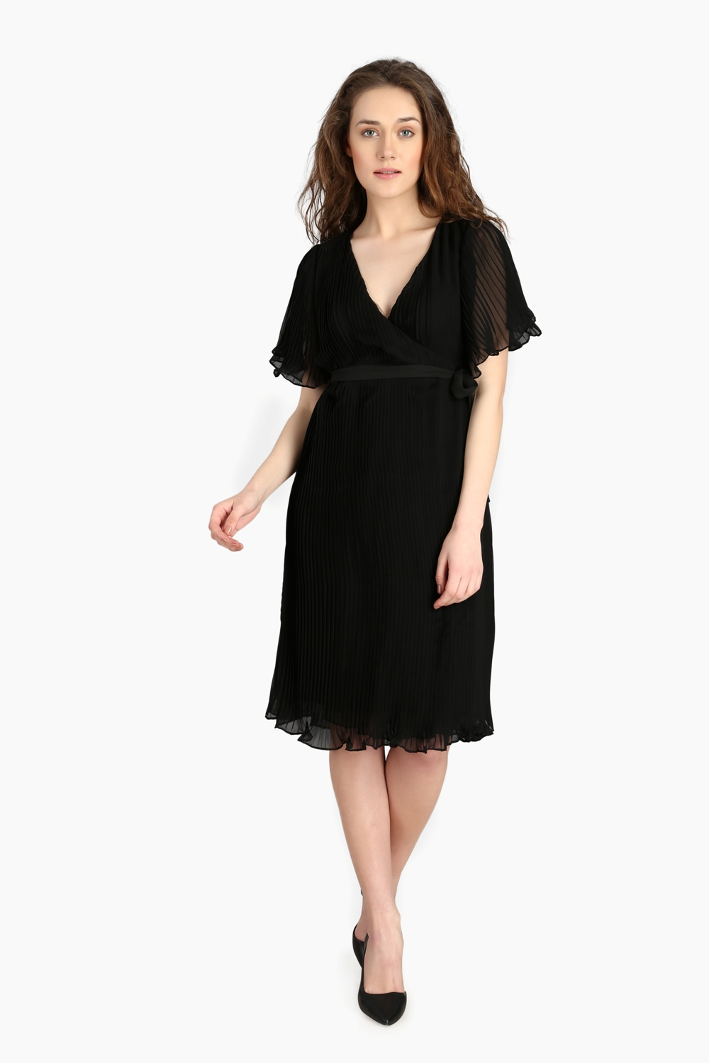 Over Lapping Pleated Dress