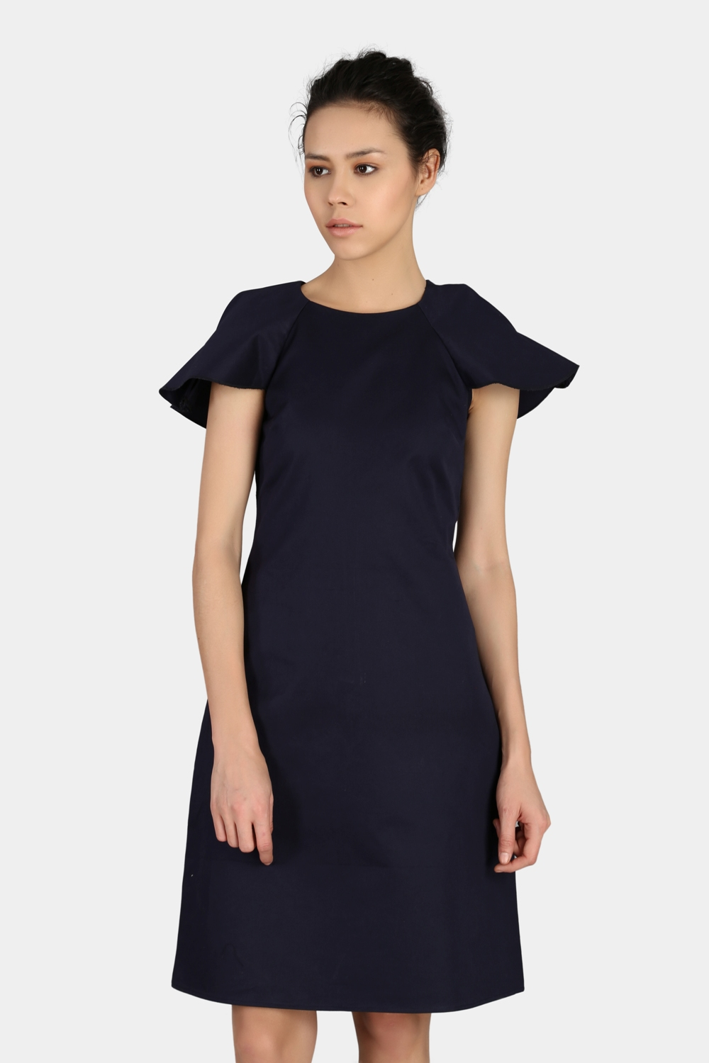 Navy Blue Relaxed Work Wear Dress -0