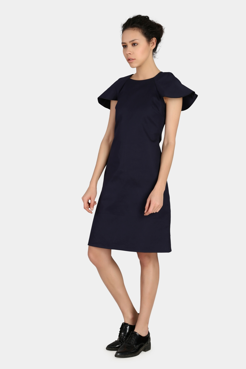 Navy Blue Relaxed Work Wear Dress -1