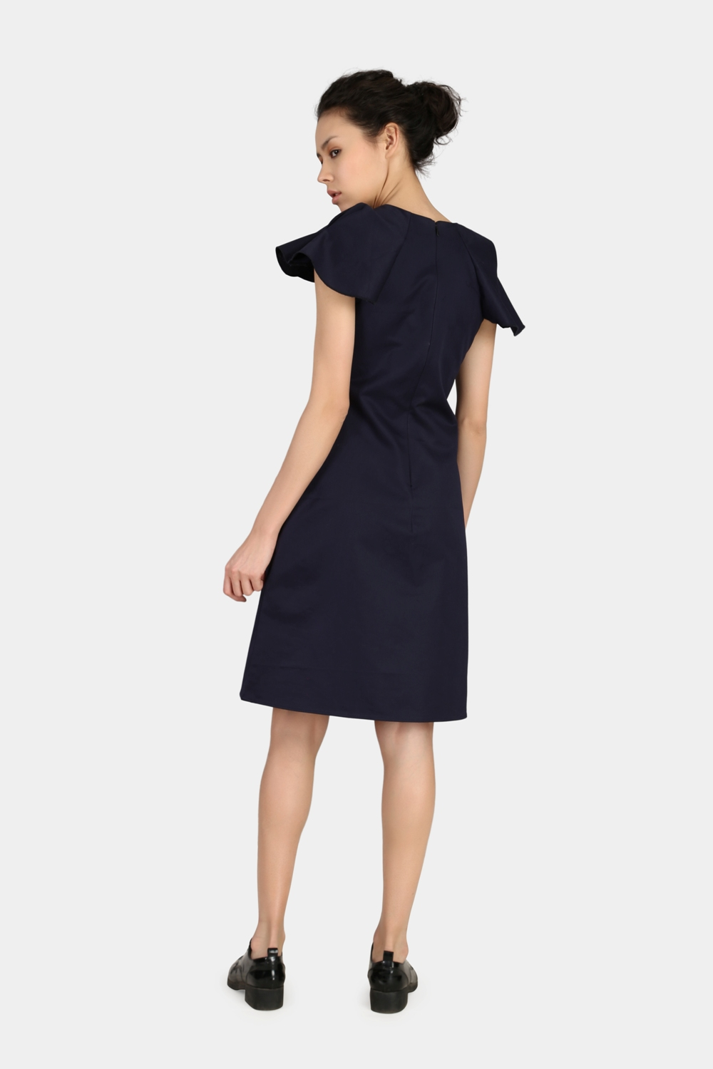Navy Blue Relaxed Work Wear Dress -2