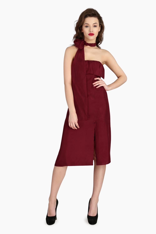 Scarf Drape Silk Dress