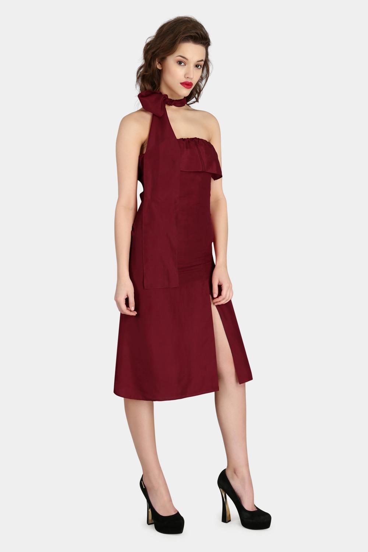 Scarf Drape Silk Dress -1