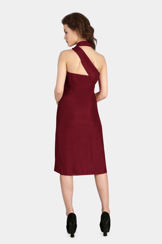 Scarf Drape Silk Dress -2