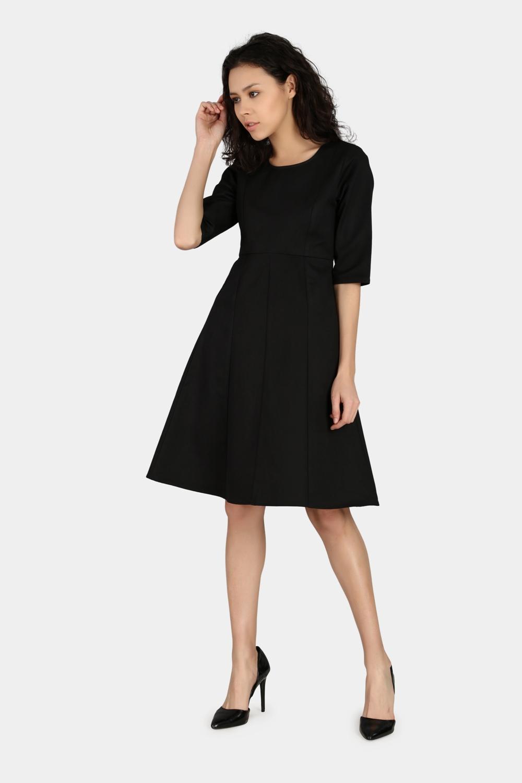 Fitted Sleeve Work Wear Dress -1