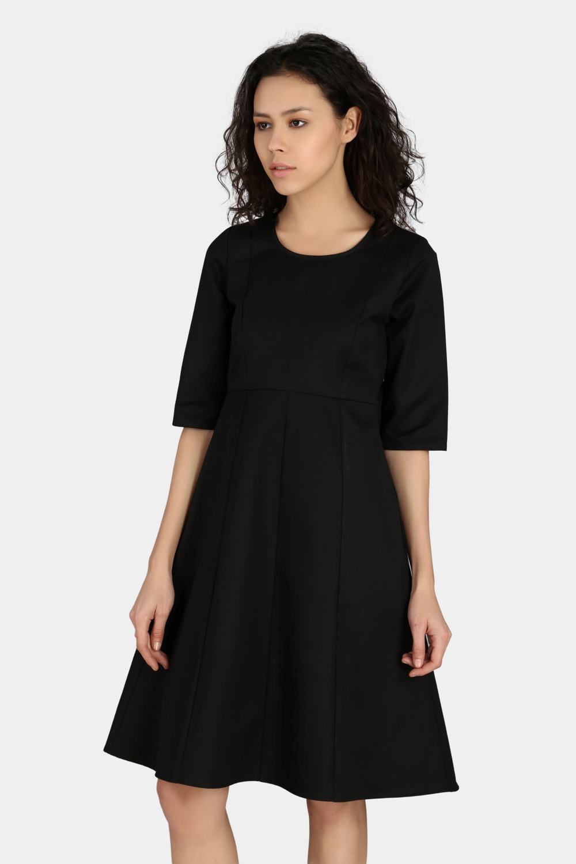 Fitted Sleeve Work Wear Dress -0