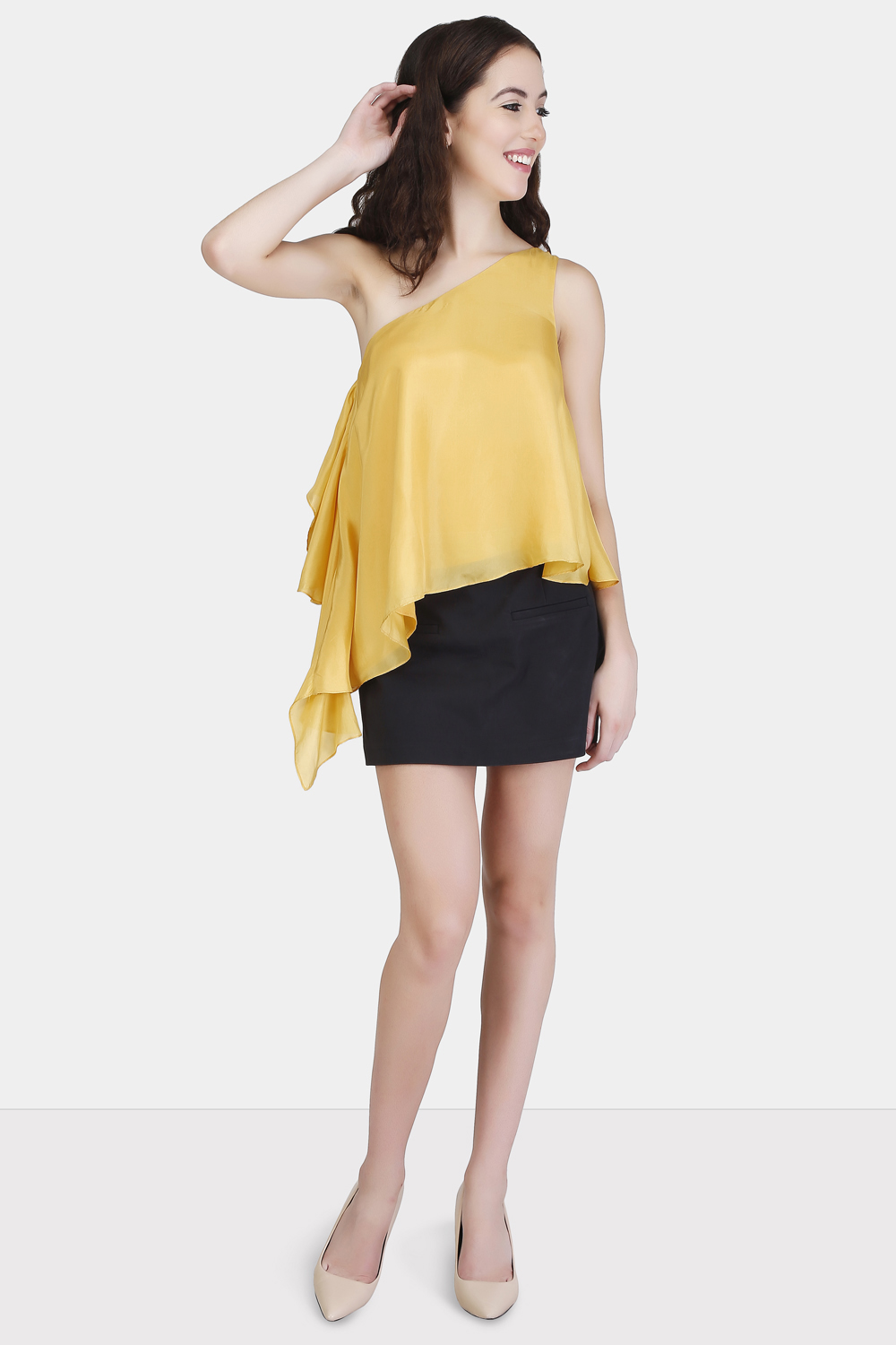 One Shoulder Ruffle Top -0