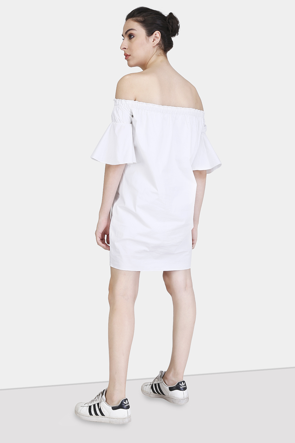 Off-Shoulder Gather Dress -0