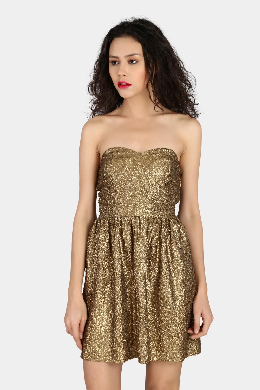 Strapless Golden Sequin Dress -2