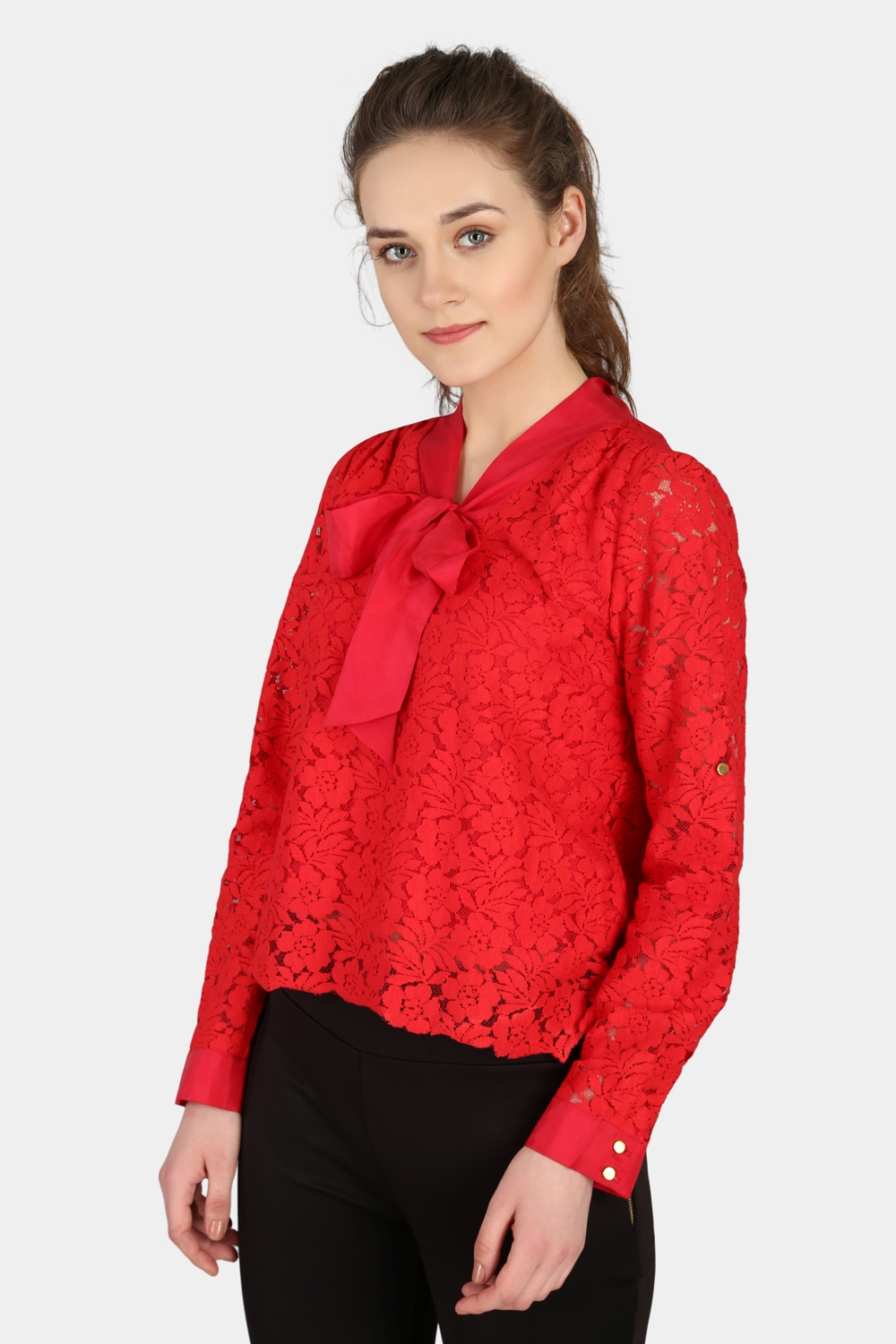 Silk Bow Lace Top -2