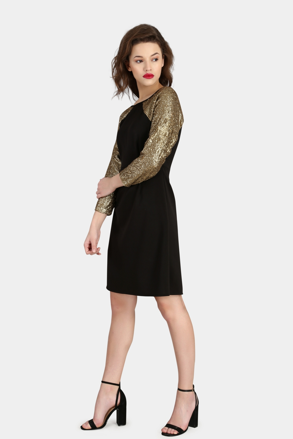 Raglan Sequin Dress -0
