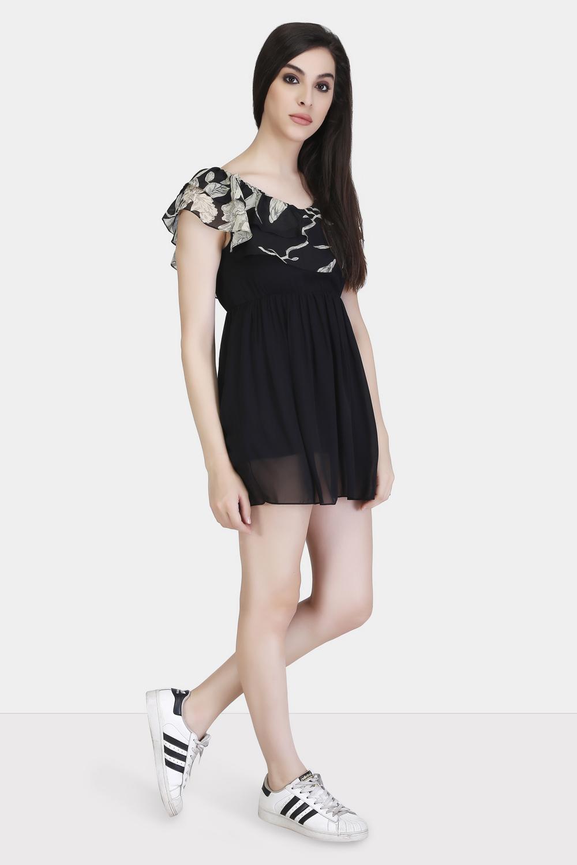 Printed Yoke Ruffle Dress -1