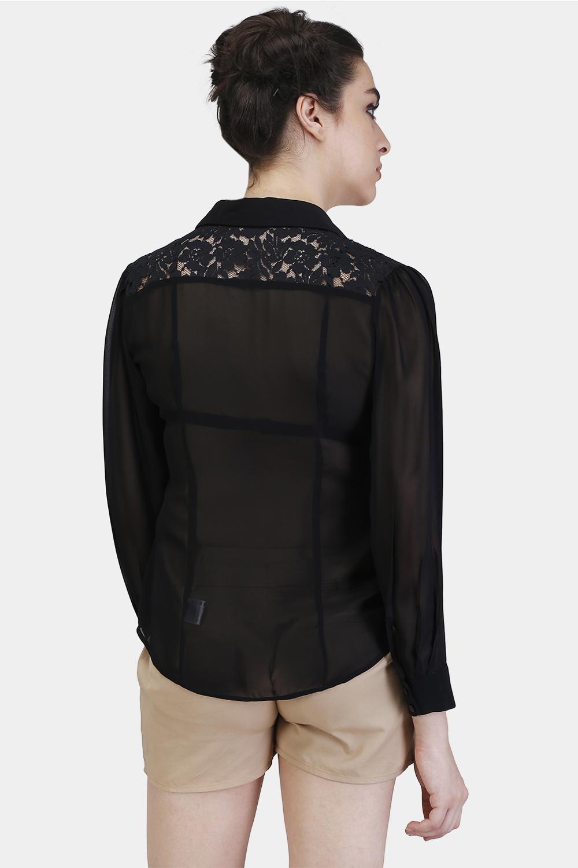 Floral Lace Yoke Shirt -2