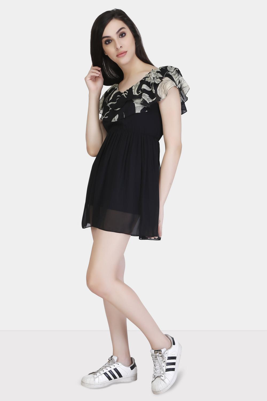 Printed Yoke Ruffle Dress -2