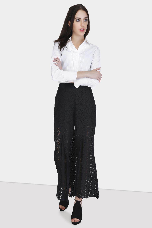 Box Pleat Lace Pants -1