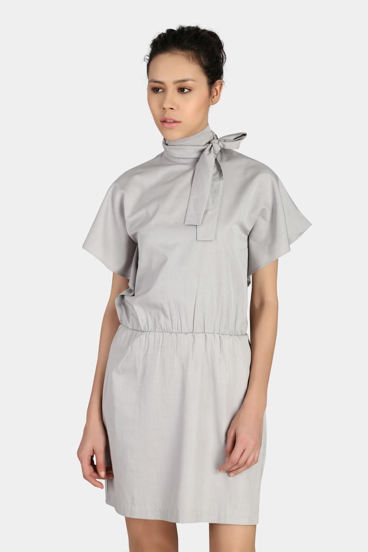 Standing Collar Bow Dress -2