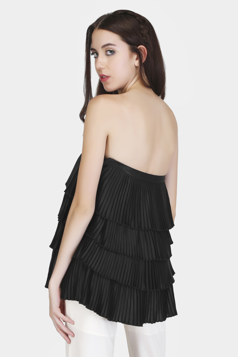 Off-Shoulder Pleated Top -0