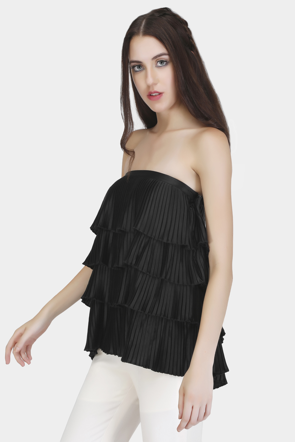 Off-Shoulder Pleated Top -1