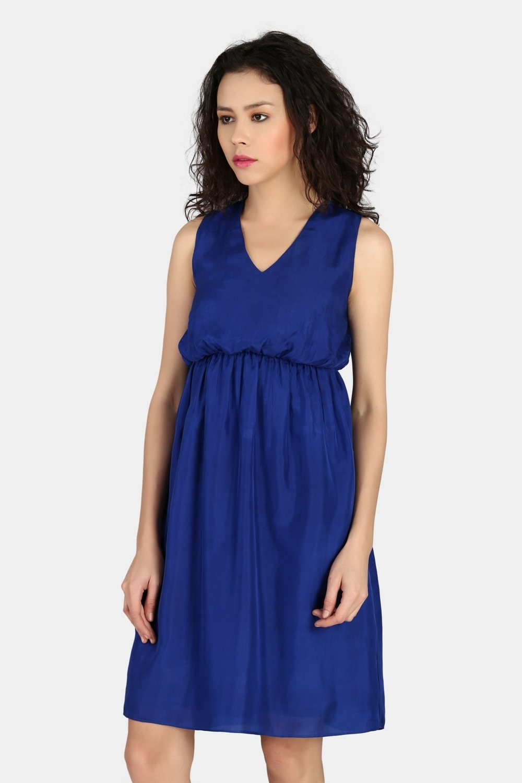 Gathered High Waist Dress -0