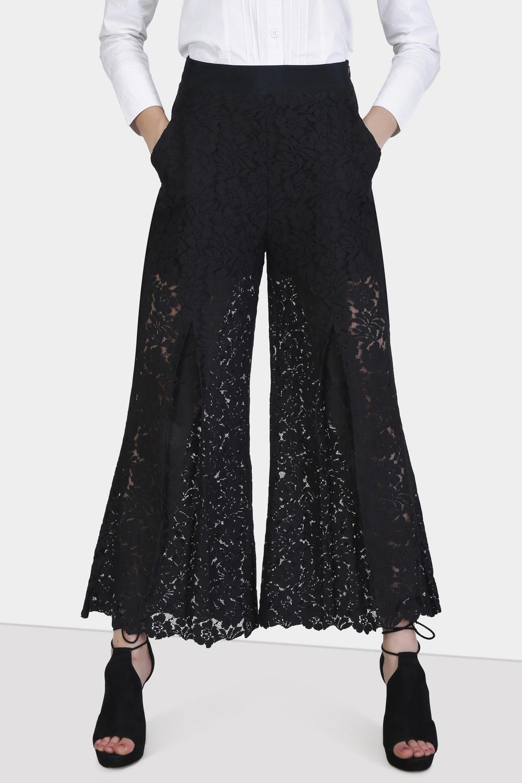 Box Pleat Lace Pants -2