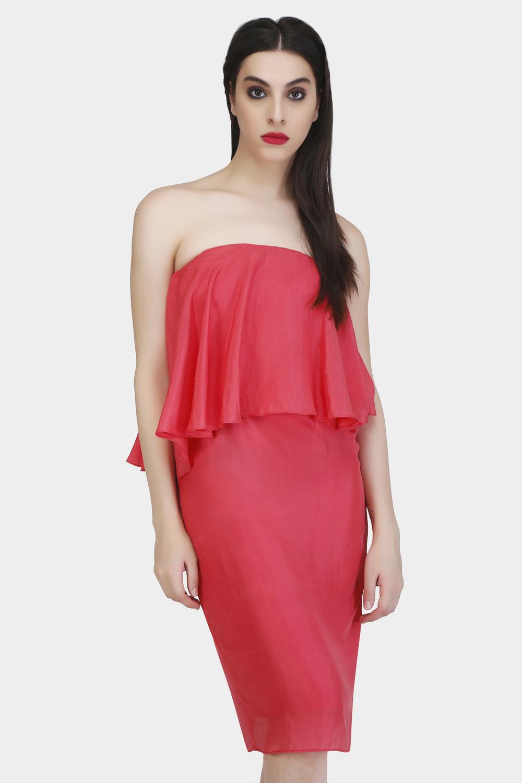 Straight Across Evening Silk Dress -2