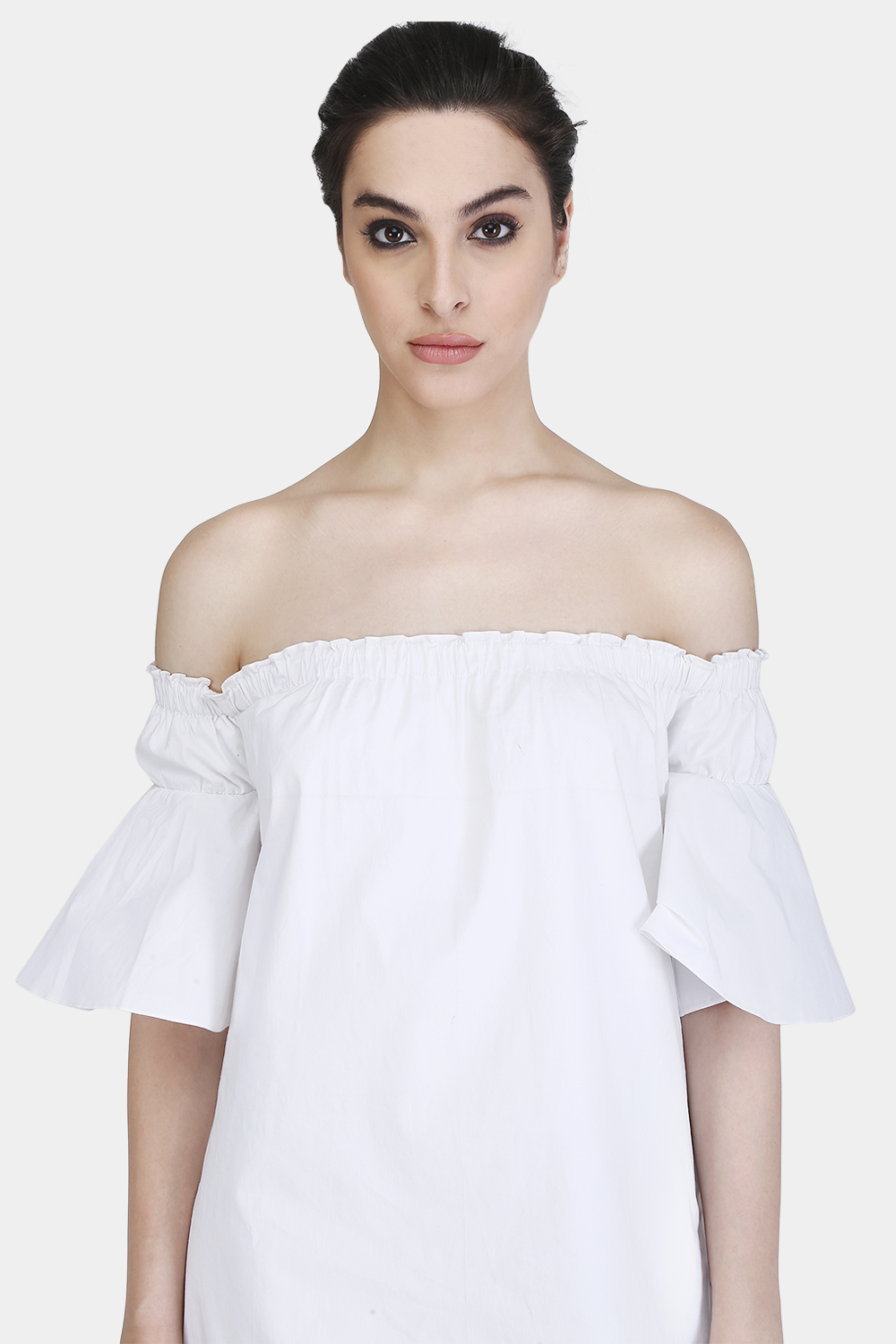 Off-Shoulder Gather Dress -1
