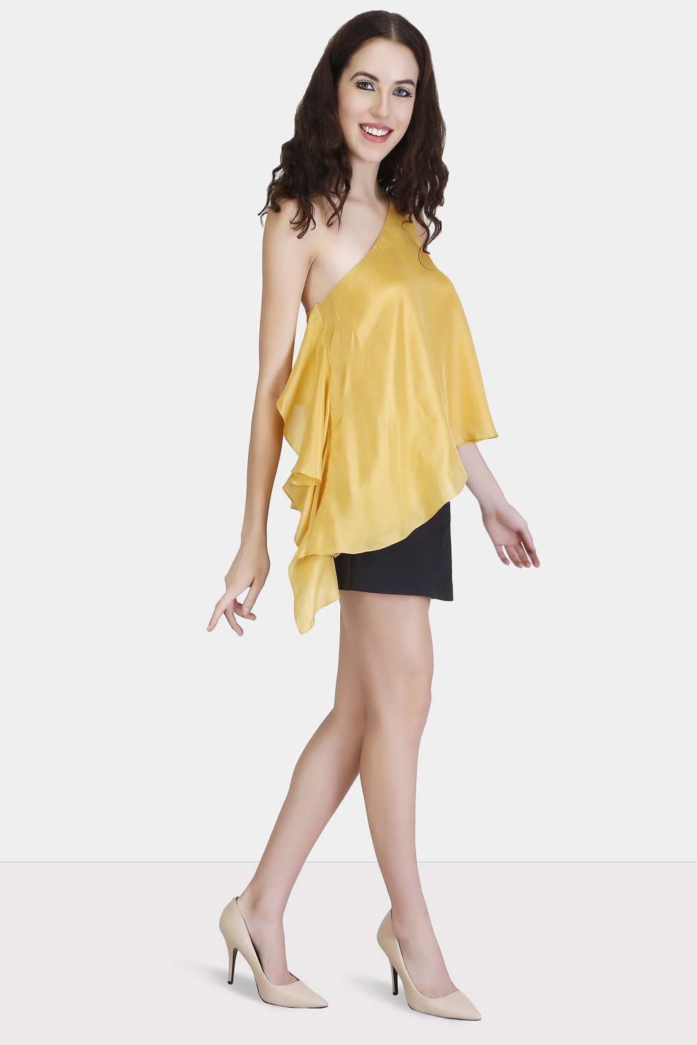 One Shoulder Ruffle Top -1