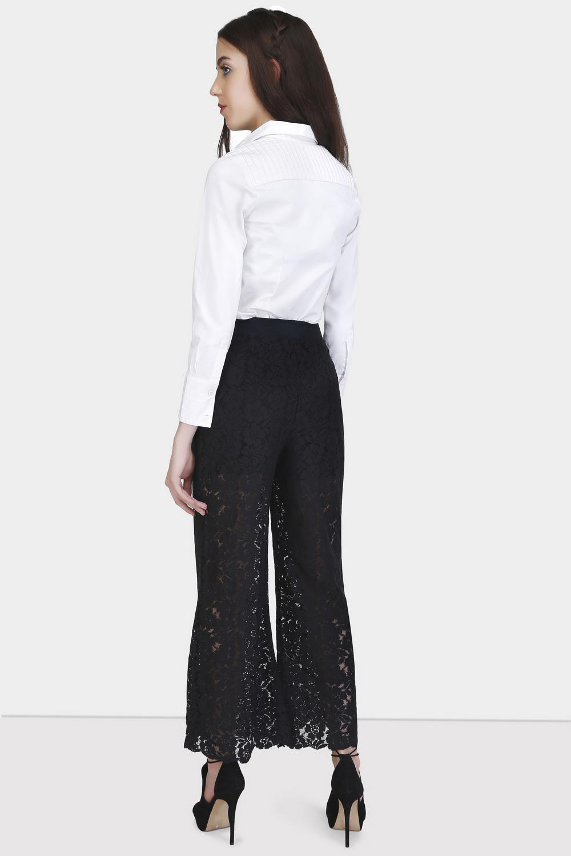 Box Pleat Lace Pants -0