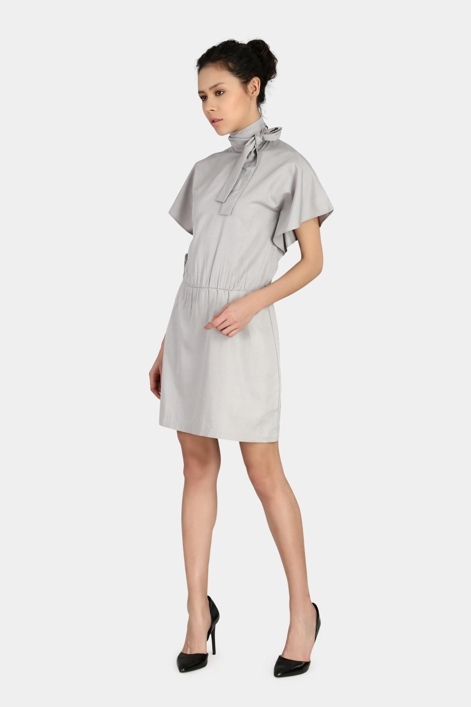 Standing Collar Bow Dress -0