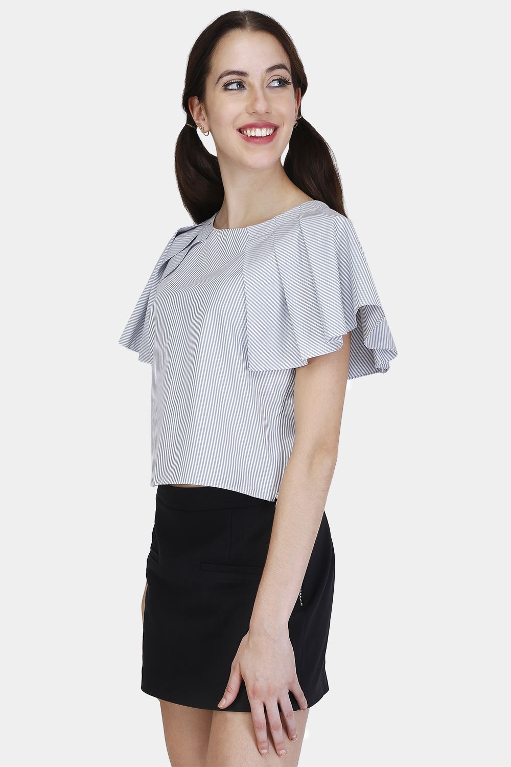 Pleated Cape Sleeve Top -0