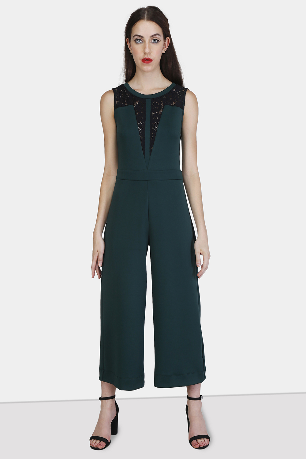 Lace Panel Jumpsuit - Front