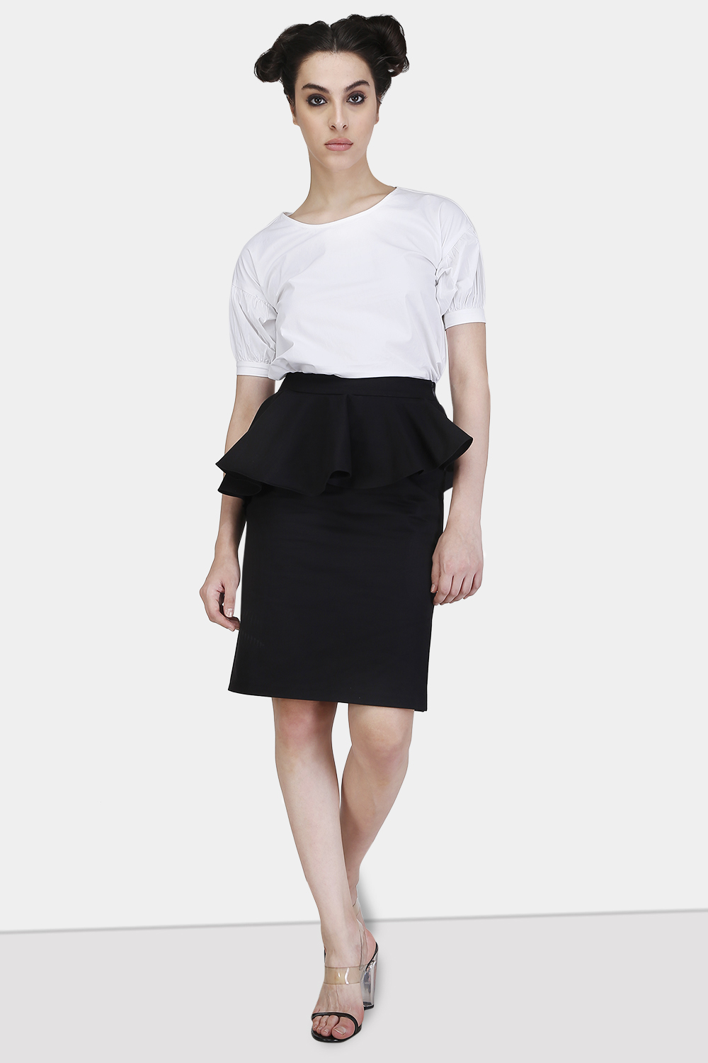 Peplum Slit Skirt