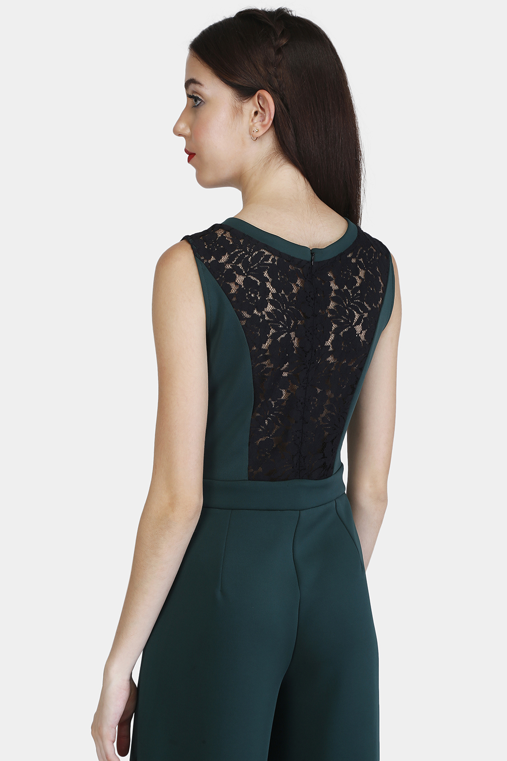 Lace Panel Jumpsuit - Back