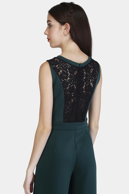 Lace Panel Jumpsuit - Back