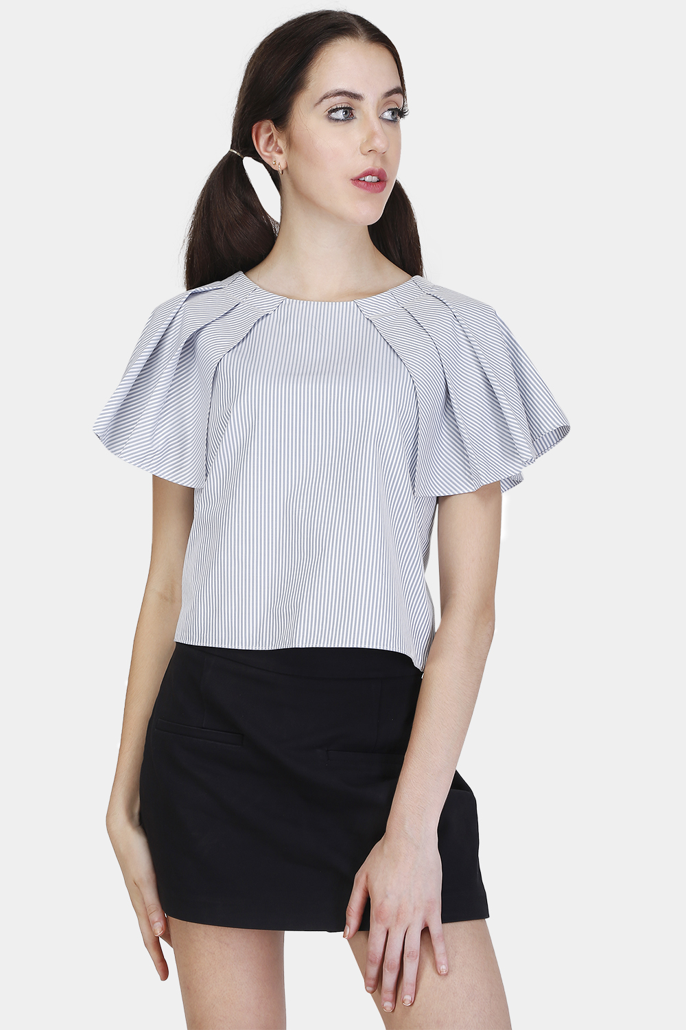 Pleated Cape Sleeve Top