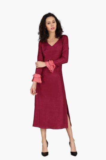 Tone Ruffle Evening Dress