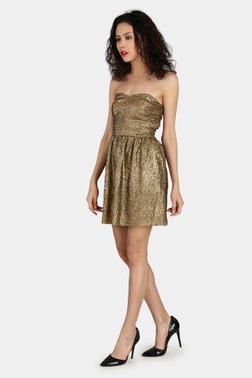Strapless Golden Sequin Dress - Back