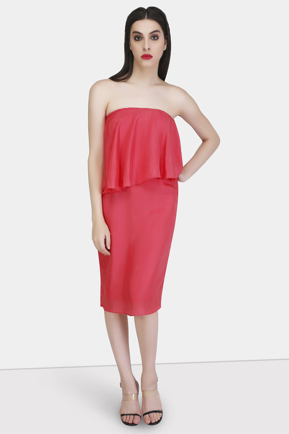 Straight Across Evening Silk Dress - Front