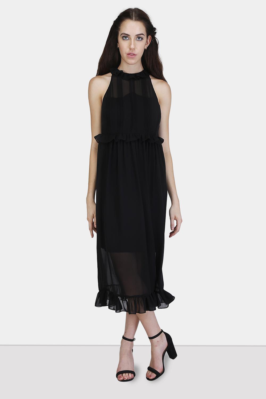 Pintucks Ruffle Dress
