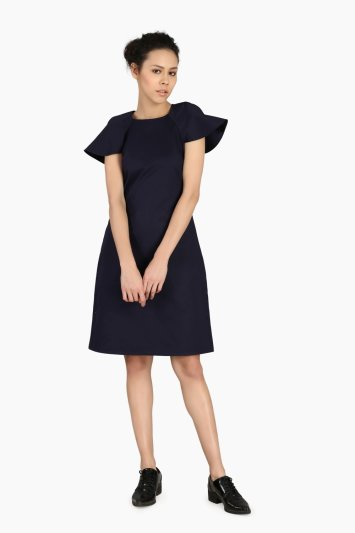 Navy Blue Relaxed Work Wear Dress - Front