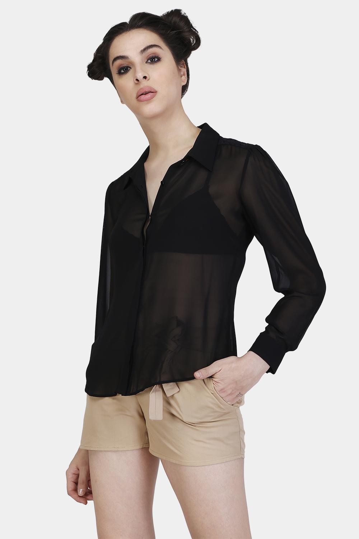 Floral Lace Yoke Shirt - Back