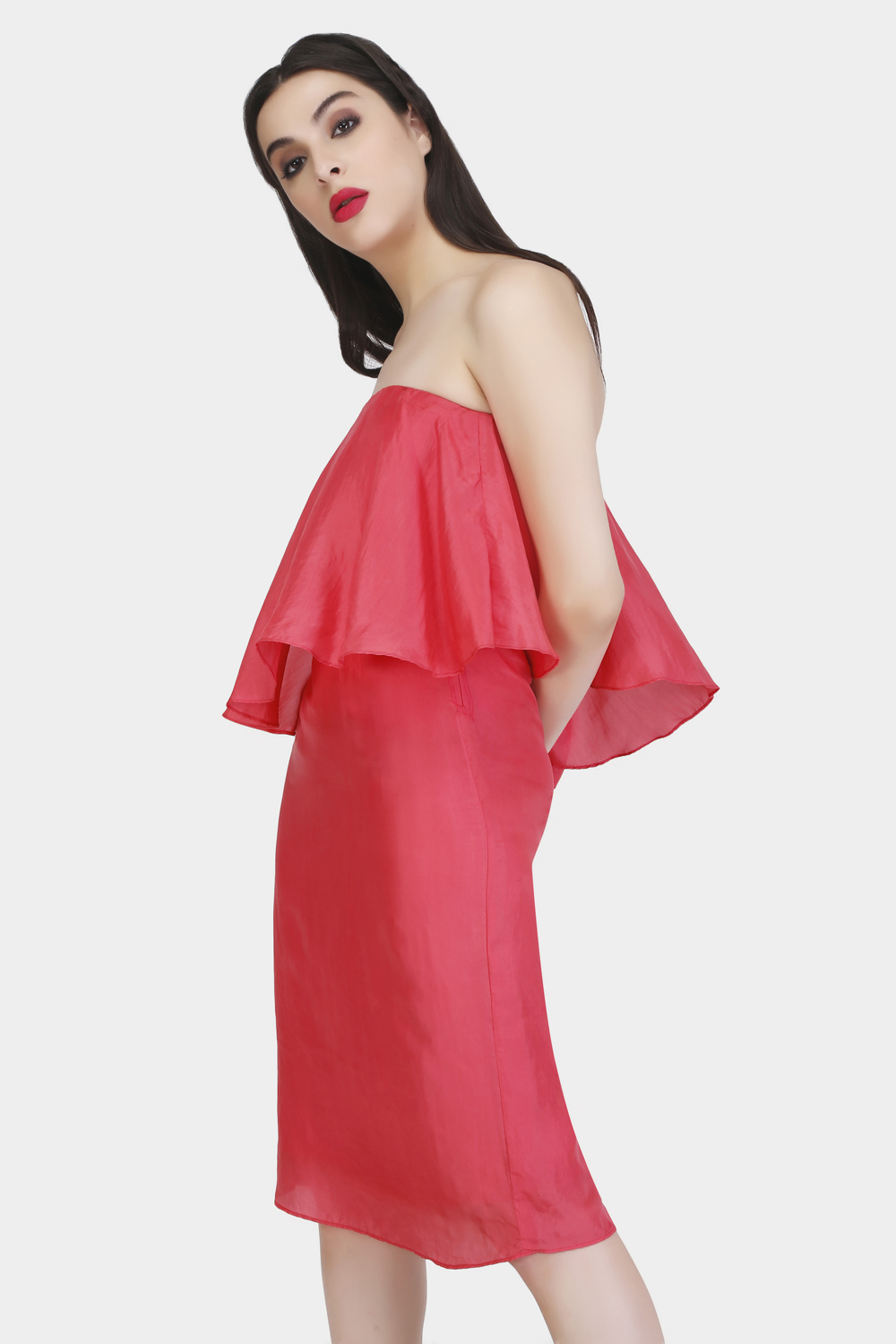 Straight Across Evening Silk Dress - Back