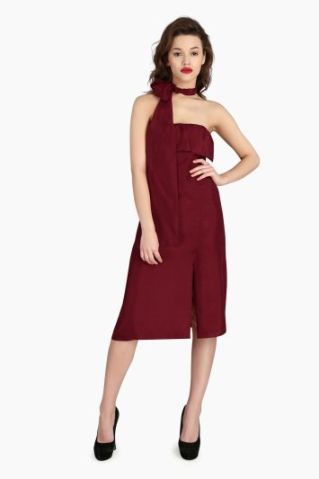 Scarf Drape Silk Dress - Front