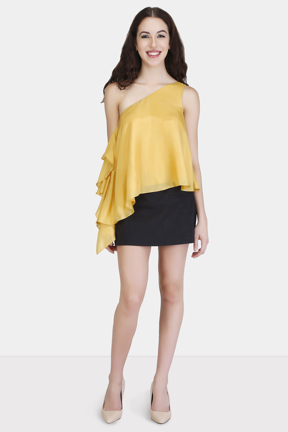 One Shoulder Ruffle Top - Front