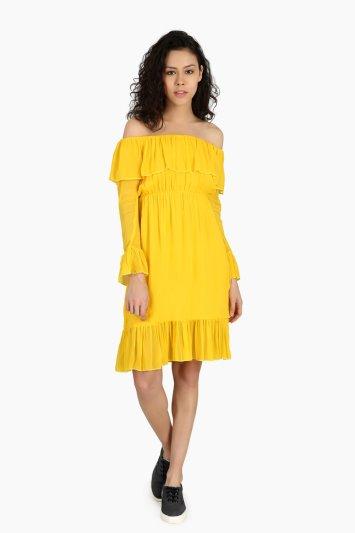 Off Shoulder Casual Dress - Front