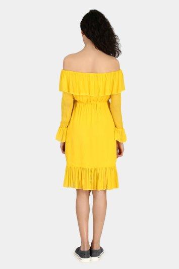 Off Shoulder Casual Dress - Back