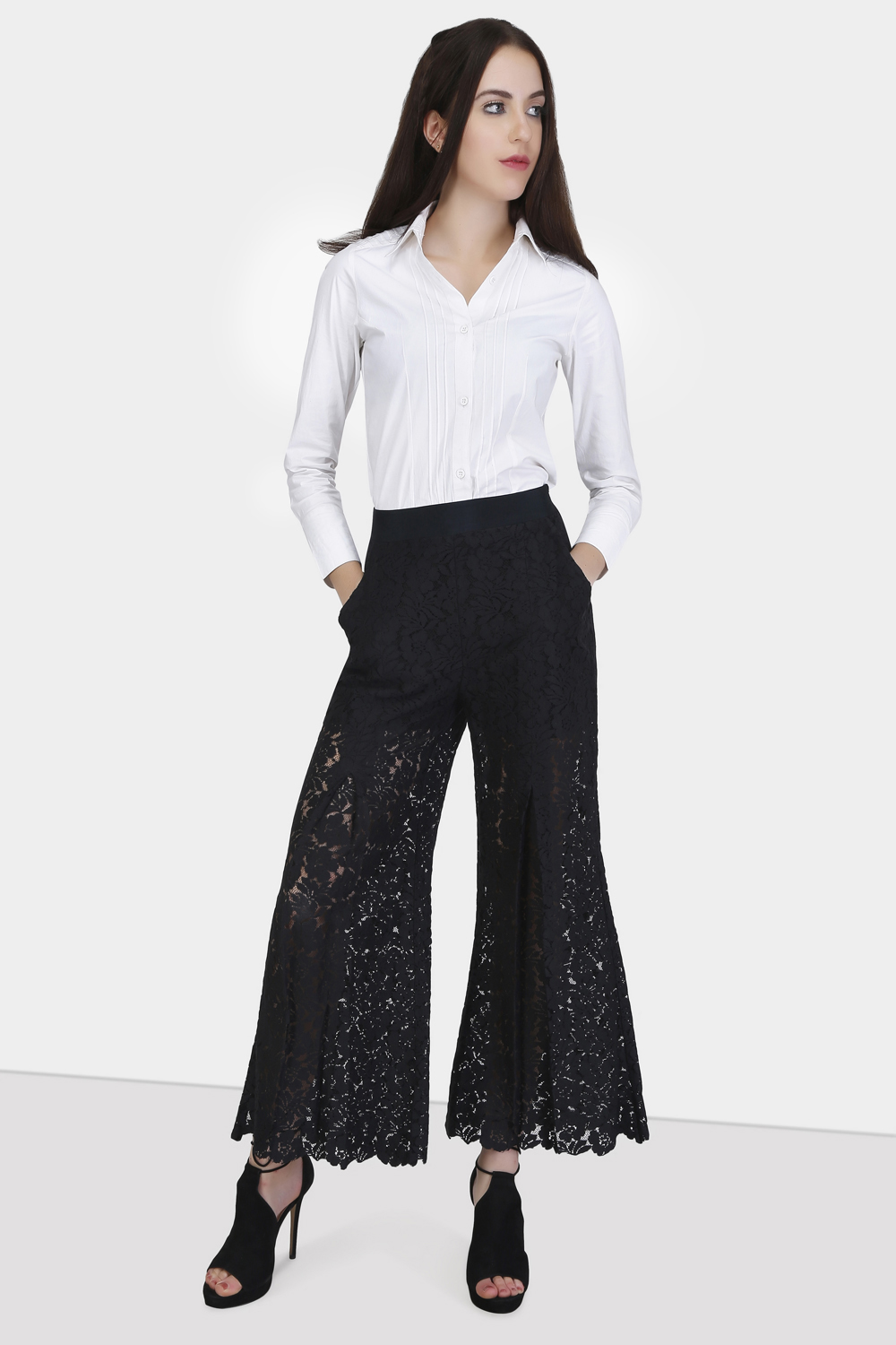 Box Pleat Lace Pants