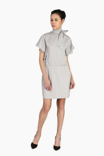 Standing Collar Bow Dress - Front